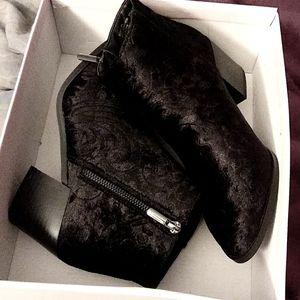 Black velvet heel booties
